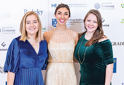Rachel Hunt, Alexandra Brito, and Sierra Roark at The Undergraduate Awards in Dublin, Ireland, Thursday, November 9, 2017.